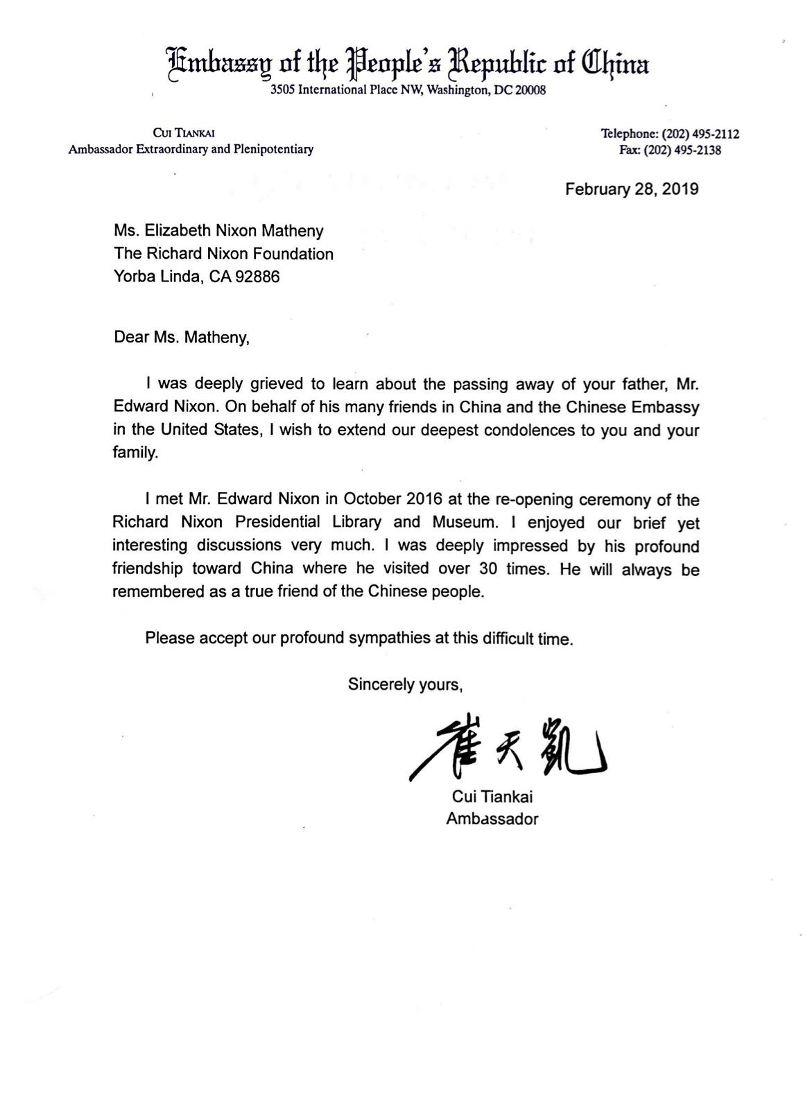 Letter of Condolence - Ed Nixon