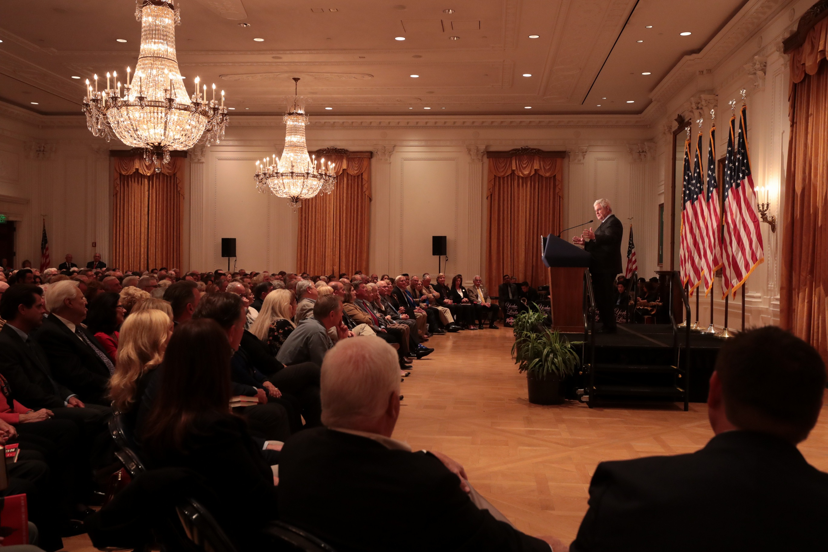 Newt Gingrich addresses crowd at Nixon Library